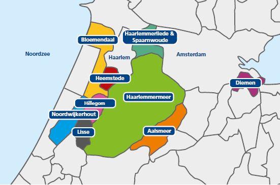 Aandeelhoudende gemeenten Meerlanden map